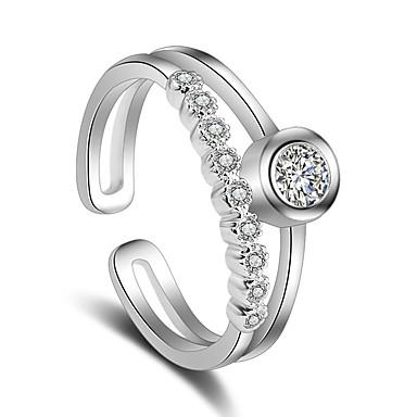 Mulheres Anel - Pedaço de Platina Estiloso Ajustável Prata Para Casamento / Festa / Ocasião Especial
