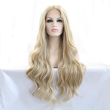 Χαμηλού Κόστους Συνθετικές περούκες με δαντέλα-Συνθετικές μπροστινές περούκες δαντέλας Φυσικό Κυματιστό Στυλ Δαντέλα Μπροστά Περούκα Ξανθό Ξανθό Συνθετικά μαλλιά 18-26 inch Γυναικεία Ανθεκτικό στη Ζέστη / Φυσική γραμμή των μαλλιών Ξανθό Περούκα
