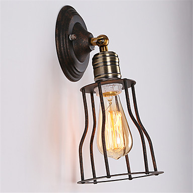 retro industriell stil land metall bur wall lights restaurant cafe mini wall sconces