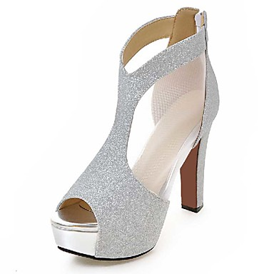 Women's Shoes PU Spring Summer Fall Sandals Chunky Heel Peep Dress Toe Zipper for Casual Dress Peep Party & Evening Gold Black Silver a7aed2