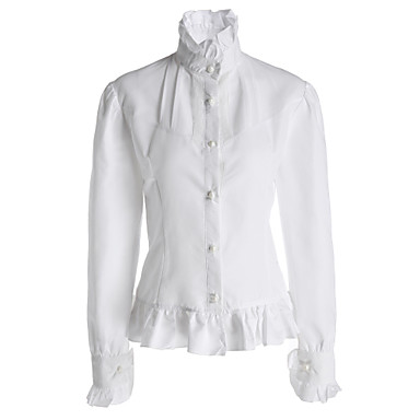 Blouse/Shirt Classic/Traditional Lolita Lolita Cosplay Lolita Dress White Solid Long Sleeve Stand Collar Lolita Blouse For Women Cotton