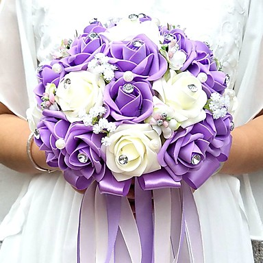 Bryllupsblomster Buketter Unik bryllupsdekor Spesiell Leilighet Fest / aften Perler Strass Satin skum 9.84 tommer (ca. 25cm)