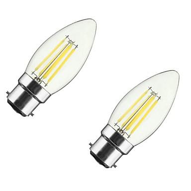 ONDENN 2pcs 4W 350lm E26 / E27 B22 LED-glödlampor CA35 4 LED-pärlor COB Bimbar Varmvit 85-265V