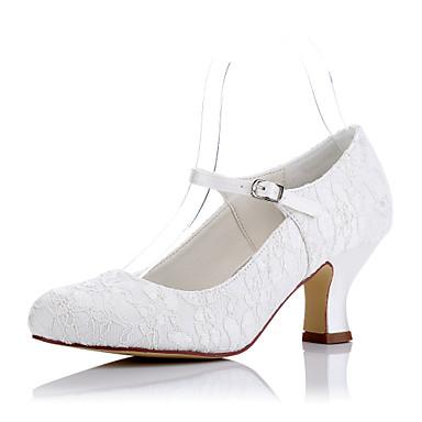 Mulheres Sapatos Tule Primavera / Verão Conforto Saltos Salto Robusto Ponta Redonda Ivory / Casamento / Festas & Noite