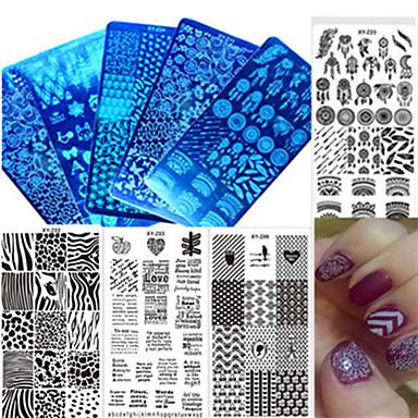 Недорогие Все для маникюра-1pcs Инструмент для ногтей Инструменты для наращивания ногтей Инструмент для штамповки ногтей шаблон Модный дизайн маникюр Маникюр педикюр Стиль / Профессиональный / С узором / Штамповка плиты