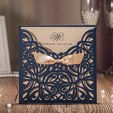 بطاقة مسطح دعوات الزفاف 50 - بطاقات الدعوة نمط فني ستايل فينتاج الأزهار ستايل أوراق البطاقة شرائط