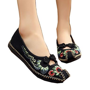 Mulheres Sapatos Lona Primavera / Verão Conforto / Inovador / Sapatos bordados Rasos Caminhada Sem Salto Ponta quadrada Flor Preto /