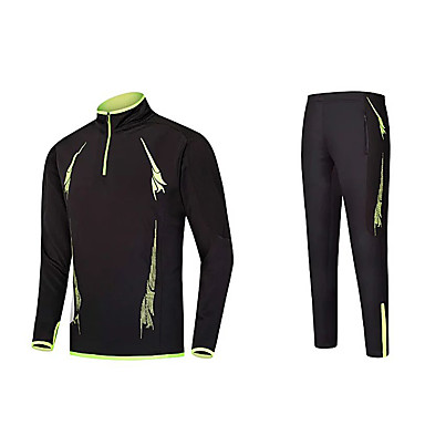 Herre T-skjorte til jogging - Svart / Grønn, Rød+Svart, Svart / Oransje sport Joggedress Langermet Sportsklær Bekvem Elastisk