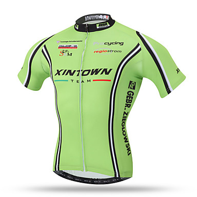XINTOWN Homens Manga Curta Camisa para Ciclismo - Verde Moto Secagem Rápida, Respirável, Redutor de Suor