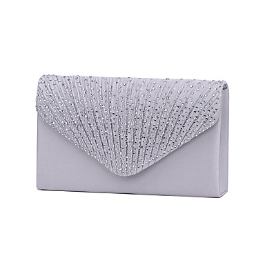 cheap Wedding HandBags-Women's Bags Polyester Evening Bag / Tri-fold Crystal / Rhinestone Navy Blue / Almond / Wine / Wedding Bags / Wedding Bags