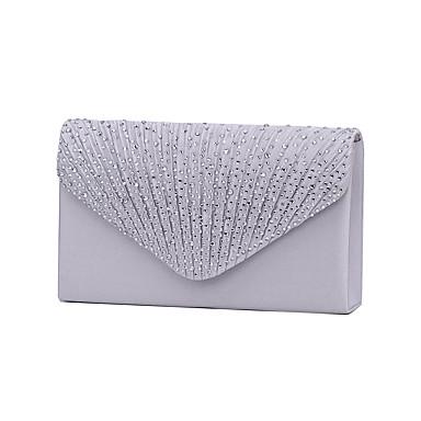 billige Vesker-Dame Krystall / Rhinstein polyester Aftenveske / Trippelfoldet Rhinestone Crystal Evening Bags Navyblå / Mandel / Vin / Bryllup Vesker / Bryllup Vesker