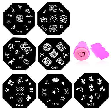 11 pcs damgalama Plaka / Nail Jewelry Çiçek / Moda Günlük Tırnak Tasarımı Tasarımı / Metal