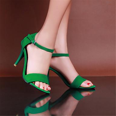 Sandalias Stiletto del Zapatos Negro Morado 05607442 Verano Puntera Mujer Terciopelo Zapatos Verde Hebilla Tacón abierta club q4YWpf