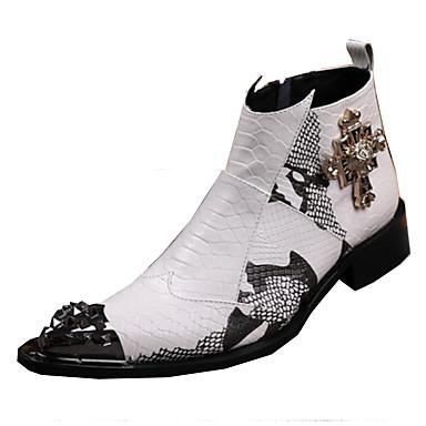 Homens Sapatos de couro Couro Outono / Inverno Vintage / Conforto Botas Caminhada Prova-de-Água Branco / Casamento / Festas & Noite / Sapatas de novidade