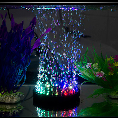 abordables Aquarium & Accessoires pour Poisson-Aquarium Eclairage LED Multicolore D'air Sans Bruit Lampe à LED 220V