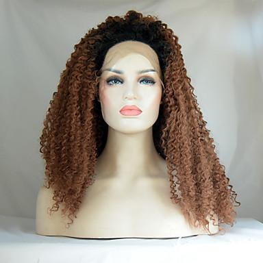 Syntetisk blonder foran parykker Kinky Curly Naturlig hårlinje / Mørke røtter Brun Dame Blonde Forside Naturlig parykk Medium Syntetisk