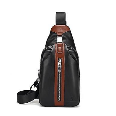 Homens Bolsas PU Zíper / Sling sacos de ombro Sólido Azul / Marron / Preto