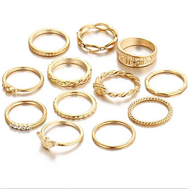 Mulheres Conjunto de anéis - Liga Vintage Tamanho Único Dourado Para Diário / 12pcs