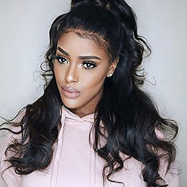 New! Natural Wavy 360 Lace Wig 150% Density Human Virgin Hair Black Color Wig with Baby Hair For Black Women
