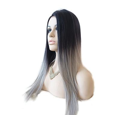 Syntetisk Lace Front Parykker Lige Syntetisk hår Ombre-hår / Mørke hårrødder / Natural Hairline Sort Paryk Dame Lang Blonde Front Sort / Grå