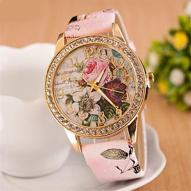 Damen Quartz Simulierter Diamant Uhr Armbanduhr Imitation Diamant PU Band Blume Kleideruhr Modisch Weiß Rot Rosa