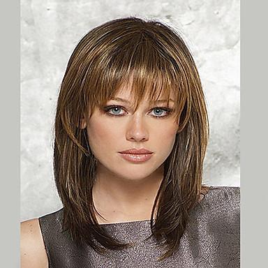 Syntetiske parykker Lige Stil Lågløs Paryk Brun Beige Syntetisk hår Dame Brun Paryk Medium Længde