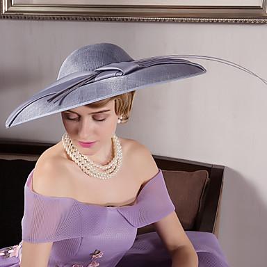 voordelige Hoeden-Vlas / Veer / Fluweel Kentucky Derby Hat / fascinators / hatut met 1 Bruiloft / Speciale gelegenheden  / ulko- Helm