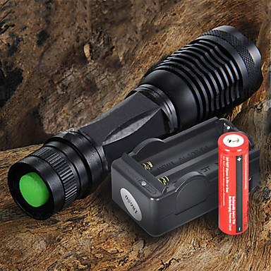 LED Flashlights / Torch LED 2200 lm 5 Mode Cree XM-L T6 with Battery and Charger Adjustable Focus Camping/Hiking/Caving Everyday Use