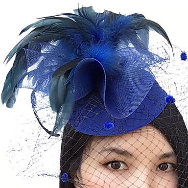 voordelige Hoeden-Veer / Net fascinators / hatut / Birdcage Veils met 1 Bruiloft / Speciale gelegenheden Helm