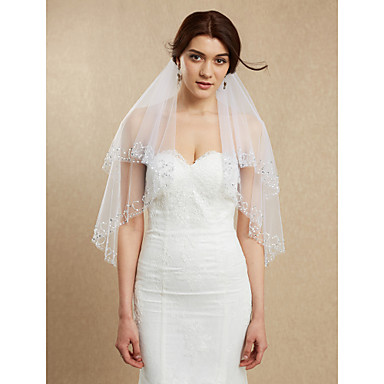 Two-tier Beaded Edge Wedding Veil Fingertip Veils 53 Beading Tulle