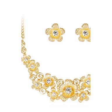 여성용 보석 세트 목걸이 패션 Euramerican 라인석 합금 Flower Shape 1 목걸이 1 쌍의 귀걸이 제품 결혼식 파티 특별한 때 생일 약혼 일상 결혼 선물