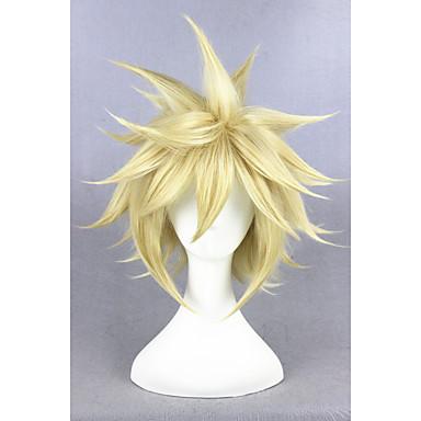 Synteettiset peruukit / Pilailuperuukit Suora Tyyli Suojuksettomat Peruukki Vaaleahiuksisuus Golden Blonde Synteettiset hiukset Naisten Vaaleahiuksisuus Peruukki Lyhyt Cosplay-peruukki