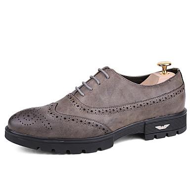 Pánské Obuv PU Léto Podzim Společenské boty Bullock boty Svatební obuv pro Ležérní Kancelář a kariéra Party Černá Šedá