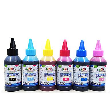 6 Epson tulostimen muste, kutakin väriä (musta, punainen, keltainen, sininen, vaalean punainen, matala sininen, 100 ml / väri)