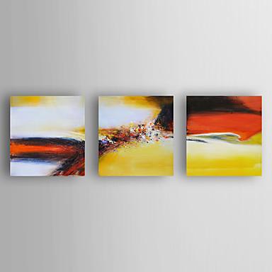 Pintura a Óleo Pintados à mão - Abstrato Modern Incluir moldura interna / 3 Painéis / Lona esticada