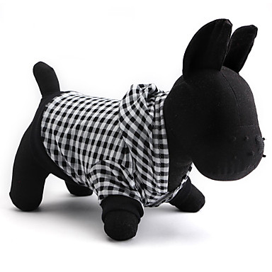 Cat Dog Hoodie Dog Clothes Breathable Plaid/Check Black Costume For Pets