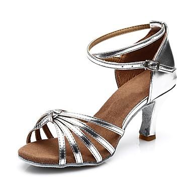 baratos Sapatos de Salsa-Mulheres Sapatos de Dança Cetim Sapatos de Dança Latina / Sapatos de Salsa Presilha Sandália / Salto Salto Cubano Personalizável Preto / Leopardo / Dourado / Espetáculo / EU40