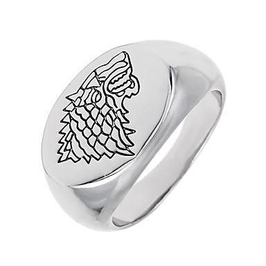 voordelige Heren Ring-meetkundig Logo Bandring Zegelring Dier Wolf Uniek ontwerp Vintage Euramerican Modieuze ringen Sieraden Wit Voor Speciale gelegenheden  Halloween 8 / 9 / 10 / 11 / 12
