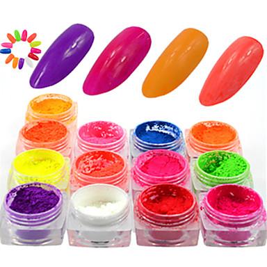 13bottles/set Pó / Nail Glitter Brilho & Glitter / Neon & Bright Diário Nail Art Design