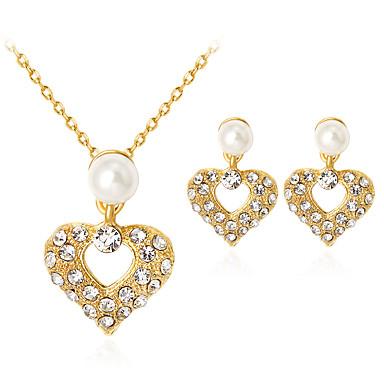 نسائي لؤلؤ مجموعة مجوهرات - لؤلؤ تقليدي, حجر الراين, مطلية بالذهب قلب كلاسيكي, موضة تتضمن ذهبي من أجل مناسب للحفلات هدية مناسب للبس اليومي