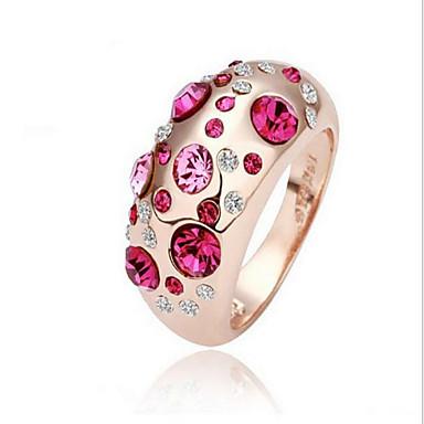 Dame Ring Krystall Legering damer Mote Euro-Amerikansk Motering Smykker Sølv / Rose Rosa / Rose Til Fest Daglig Avslappet En størrelse