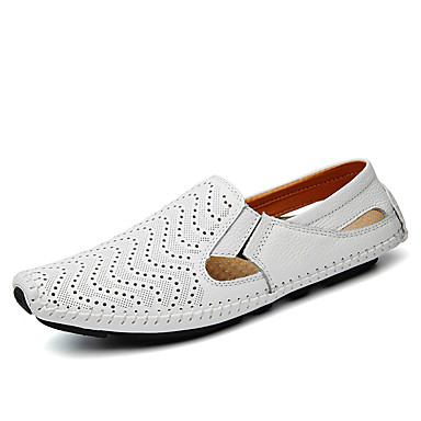 Men's Shoes Leather Spring Summer Fall Driving Shoes Comfort Loafers & Slip-Ons Walking Shoes Split Joint For Casual Office & Career