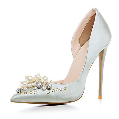 6d526dc0f Mulheres Cetim / Materiais Customizados Primavera / Verão Sapatos clube  Saltos Salto Agulha Dedo Apontado Pérolas