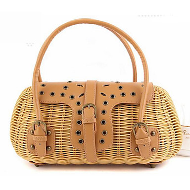cheap Going to the beach-Women's Rivet Tote Straw Bag Straw Solid Colored Beige / Brown / Dark Brown