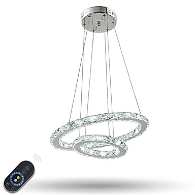 Dimmable Crystal Chandeliers Indoor LED Pendant Lighting Ring
