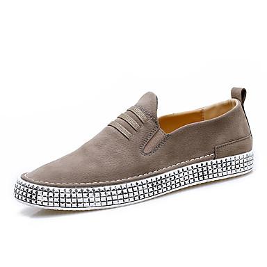 Miesten kengät Tekonahka Tyll Kesä Syksy Valopohjat Comfort Mokkasiinit varten Kausaliteetti ulko- Musta Khaki