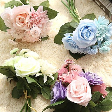 billige Kunstige blomster-Kunstige blomster 8.0 Gren Bryllupsblomster Roser Peoner Kurvplante Bordblomst