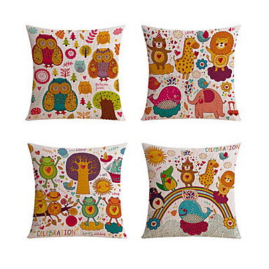 4 pcs Linen Body Pillow Travel Pillow Sofa Cushion Novelty Pillow Pillow Case, Animal Print ...