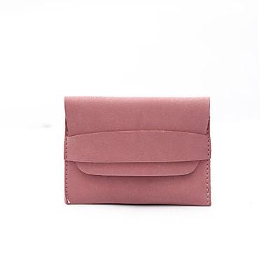 Mulheres Bolsas PU Carteiras / Dobra Tripla Sólido Ruivo / Azul / Rosa claro