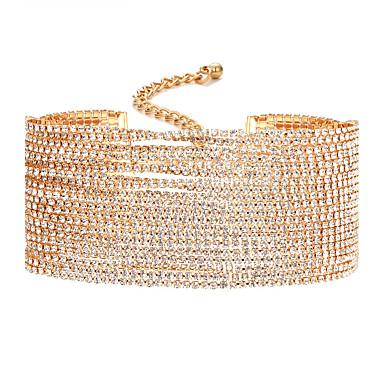 للمرأة الماس الاصطناعية قلادات ضيقة - تصميم فريد ذهبي, فضي قلادة مجوهرات من أجل زفاف, حزب, يوميا